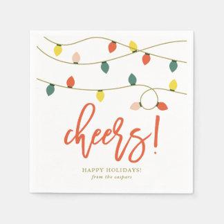 Retro Christmas Lights Holiday Paper Napkin
