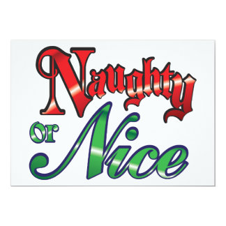Retro Christmas, Naughty or Nice Red Green Letters 13 Cm X 18 Cm Invitation Card