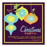 Retro Christmas Ornaments Holiday Party Invitation