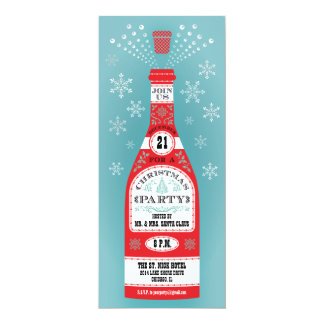 Retro Christmas Party Champagne Bottle Invitation