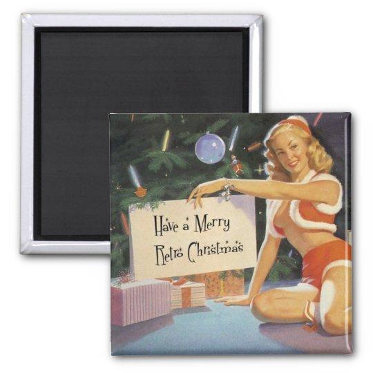 Retro Christmas Pin Up Square Magnet