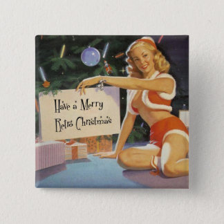 Retro Christmas Pinup 15 Cm Square Badge
