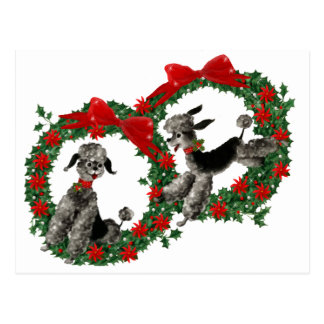 Retro Christmas Poodles in Wreaths Postcard