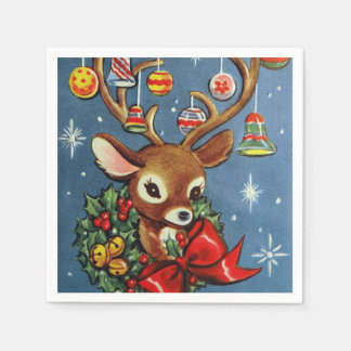 Retro Christmas reindeer Party paper napkins