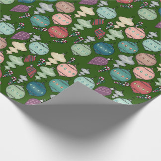 Retro Christmas Reload - Pastels on Bottle Green Wrapping Paper