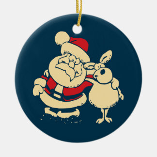 Retro Christmas Santa and his Reindeer Buddy Double-Sided Ceramic Round Christmas Ornament