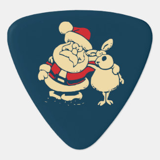 Retro Christmas Santa and his Reindeer Buddy Plectrum