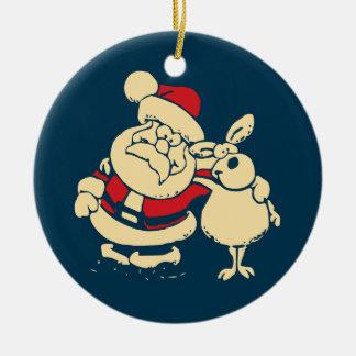 Retro Christmas Santa and his Reindeer Buddy Round Ceramic Decoration