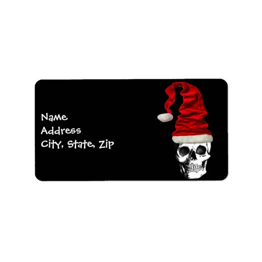 Retro Christmas Santa Skull Address Label