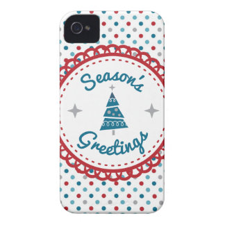 Retro Christmas Seasons Greetings iPhone 4 Case-Mate Cases