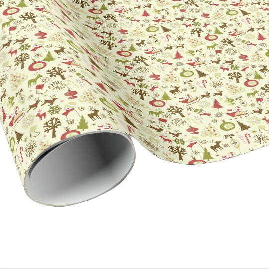 Retro Christmas Sketch Seamless Pattern Wrapping Paper