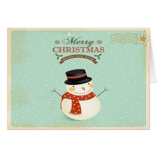 Retro Christmas Snowman Greeting Card