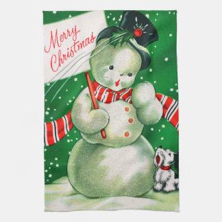 Retro Christmas snowman Holiday kitchen towel