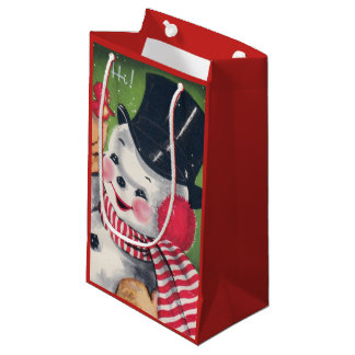 Retro Christmas snowman Holiday party bag
