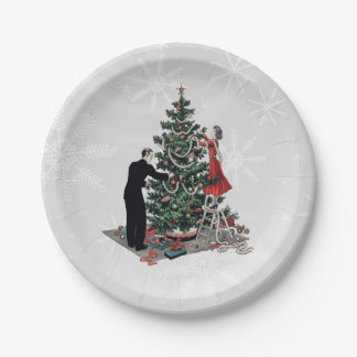 Retro Christmas Tree 7 Inch Paper Plate