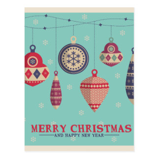 Retro Christmas tree balls Postcard