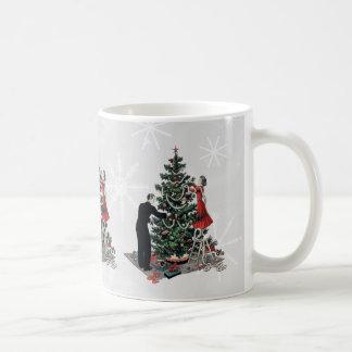 Retro Christmas Tree Basic White Mug
