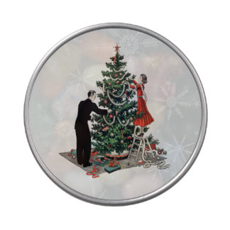 Retro Christmas Tree Candy Tins