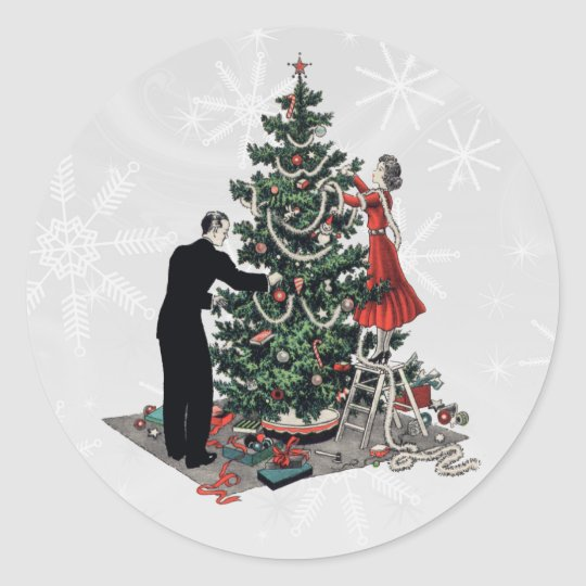 Retro Christmas Tree Classic Round Sticker