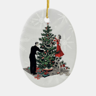 Retro Christmas Tree Ceramic Oval Decoration