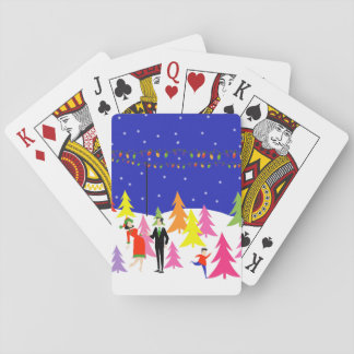 Retro Christmas Tree Farm Playing Cards