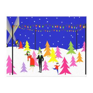 Retro Christmas Tree Farm Stretched Canvas Print