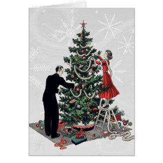 Retro Christmas Tree Greeting Card