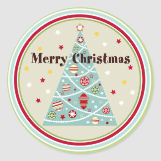 Retro Christmas Tree Holiday Stickers