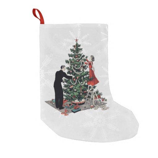 Retro Christmas Tree Small Christmas Stocking