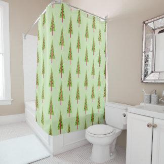 Retro Christmas Tree Shower Curtain