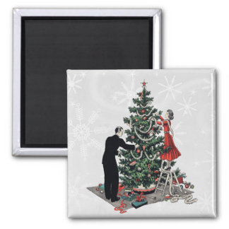 Retro Christmas Tree Square Magnet
