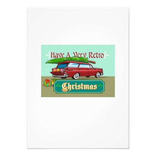 Retro Christmas Tree Station Wagon Custom Announcements