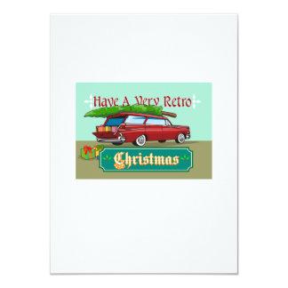 Retro Christmas Tree Station Wagon 4.5x6.25 Paper Invitation Card