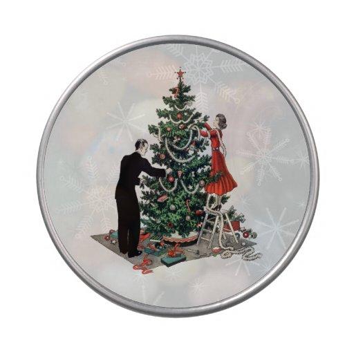 Retro Christmas Tree Candy Tin