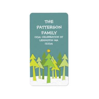 Retro Christmas Trees Holiday Address Label