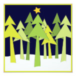 Retro Christmas Trees Holiday Open House Party 13 Cm X 13 Cm Square Invitation Card