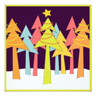 Retro Christmas Trees Holiday Party Card