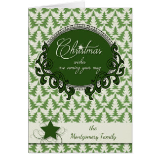 Retro Christmas Trees in Taupe and Green Greeting Card