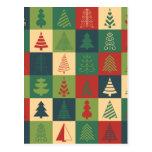 Retro Christmas trees pattern Postcard