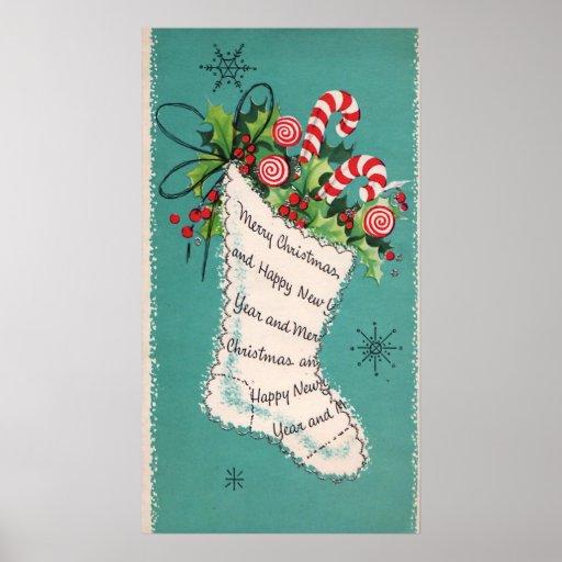 Retro Christmas Vintage stocking decor poster