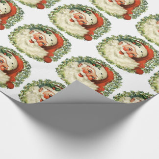 Retro Chubby Santa Wreath Holiday Gift Wrapping Wrapping Paper