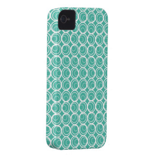 Retro Circle in Circle Turquoise iPhone 4 Covers