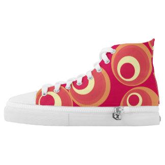 retro circle pattern Custom Zipz High Top Shoes Printed Shoes