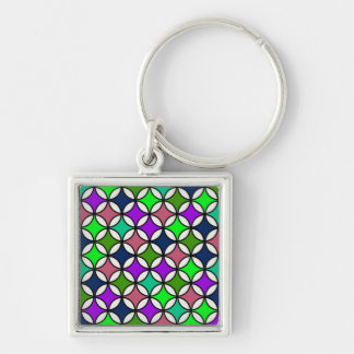 Retro Circle Pattern in Vibrant Colors Keychains