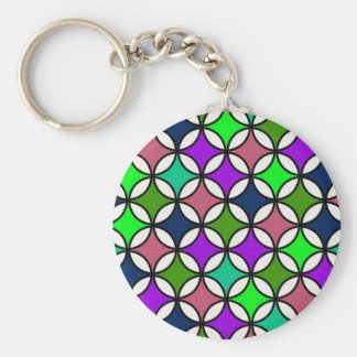 Retro Circle Pattern in Vibrant Colors Key Chains