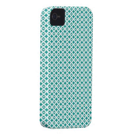 Retro Circle Squares Turquoise iPhone 4 Cases