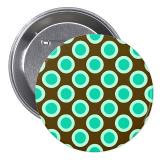 Retro circled dots, brown and turquoise 7.5 cm round badge