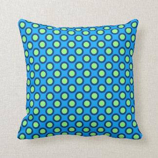 Retro circled dots, cerulean blue and green throw cushion