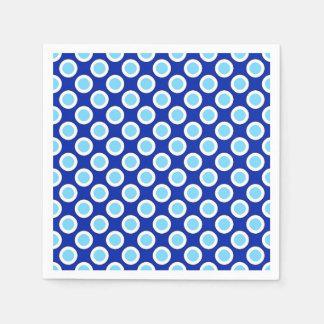 Retro circled dots, cobalt blue and white disposable serviette