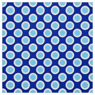 Retro circled dots, cobalt blue and white fabric
